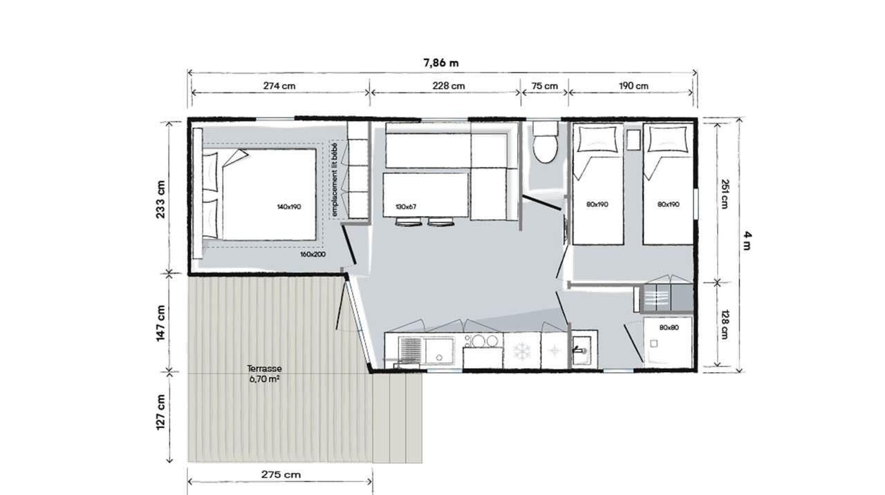 Plan mobile home 2 bedrooms 784 2-bed T