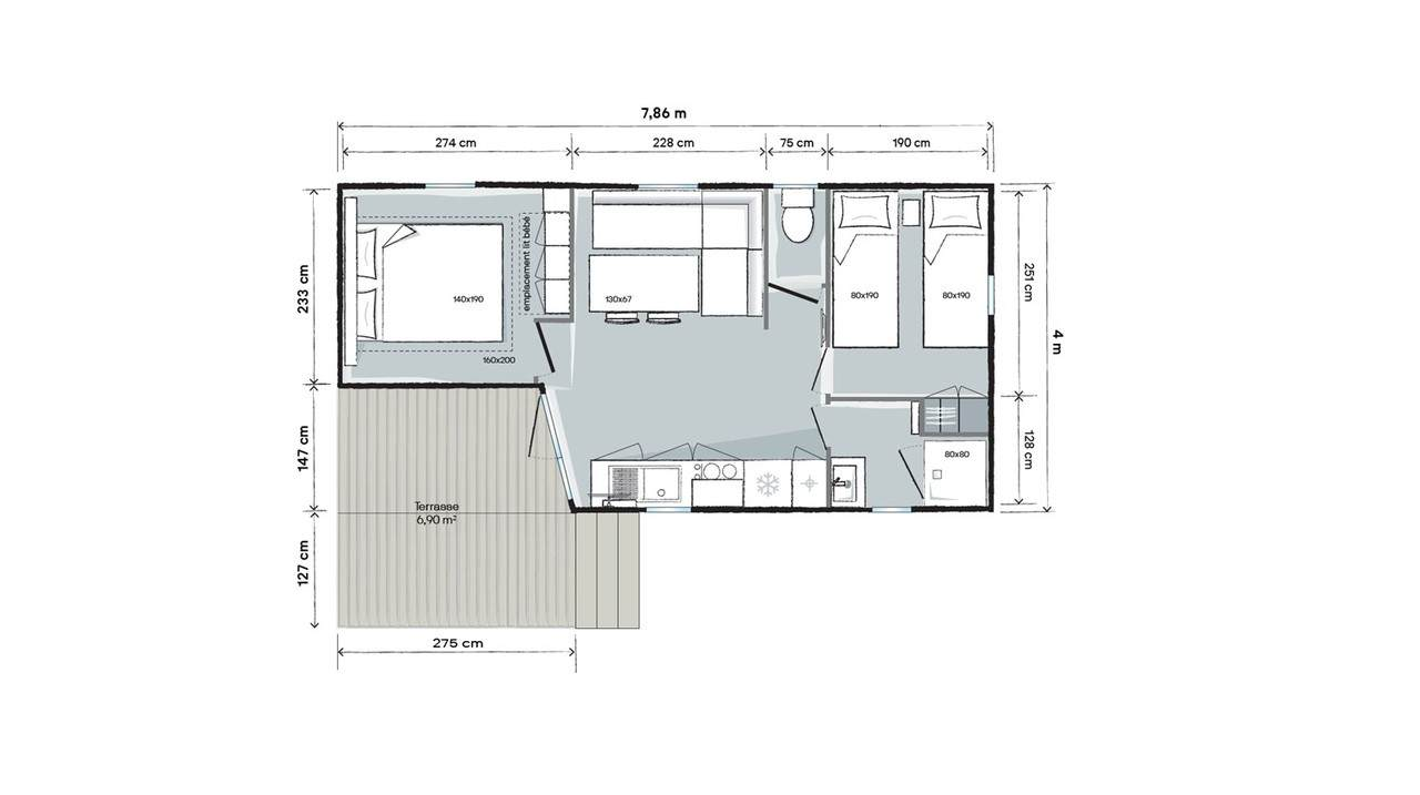 Plan mobil-home 2 chambres 784 2ch T