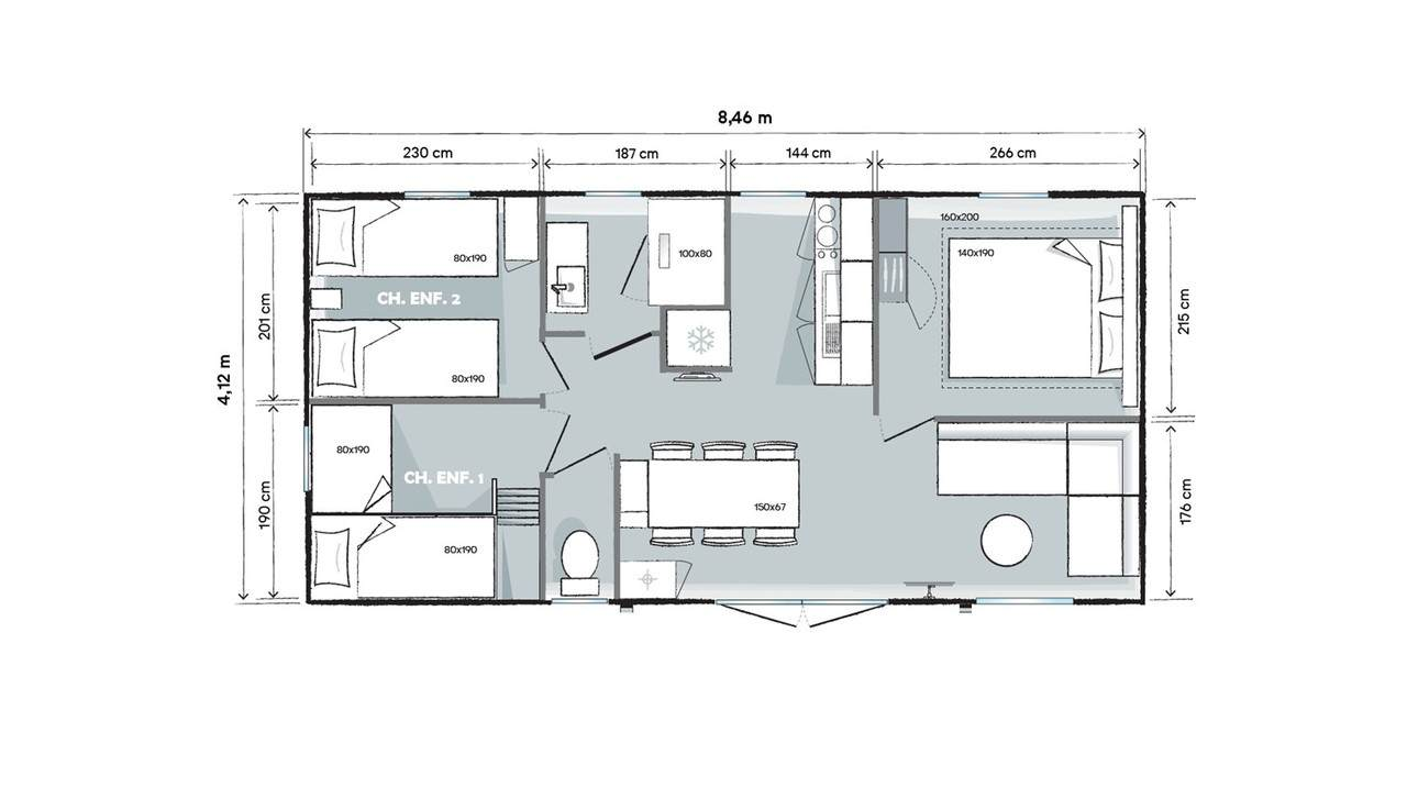 Plan mobil-home 3 chambres 845 3ch