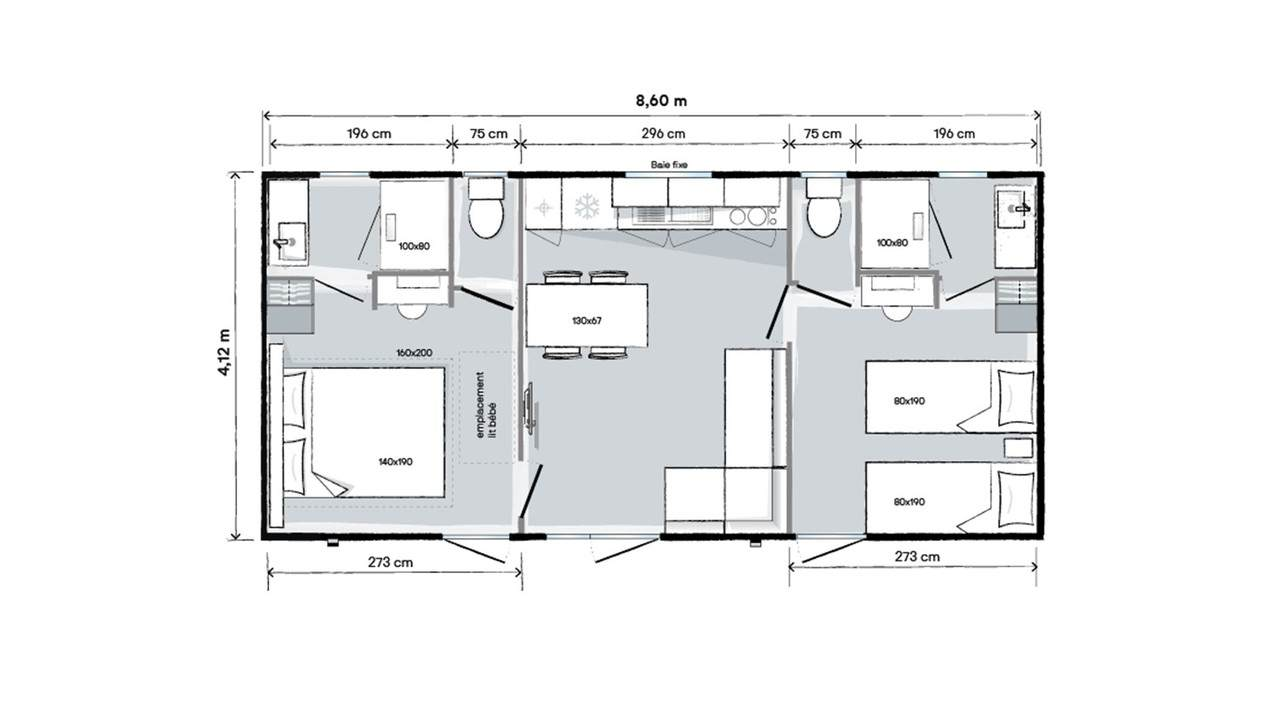 Plan mobil-home 2 chambres 865 2ch 2s