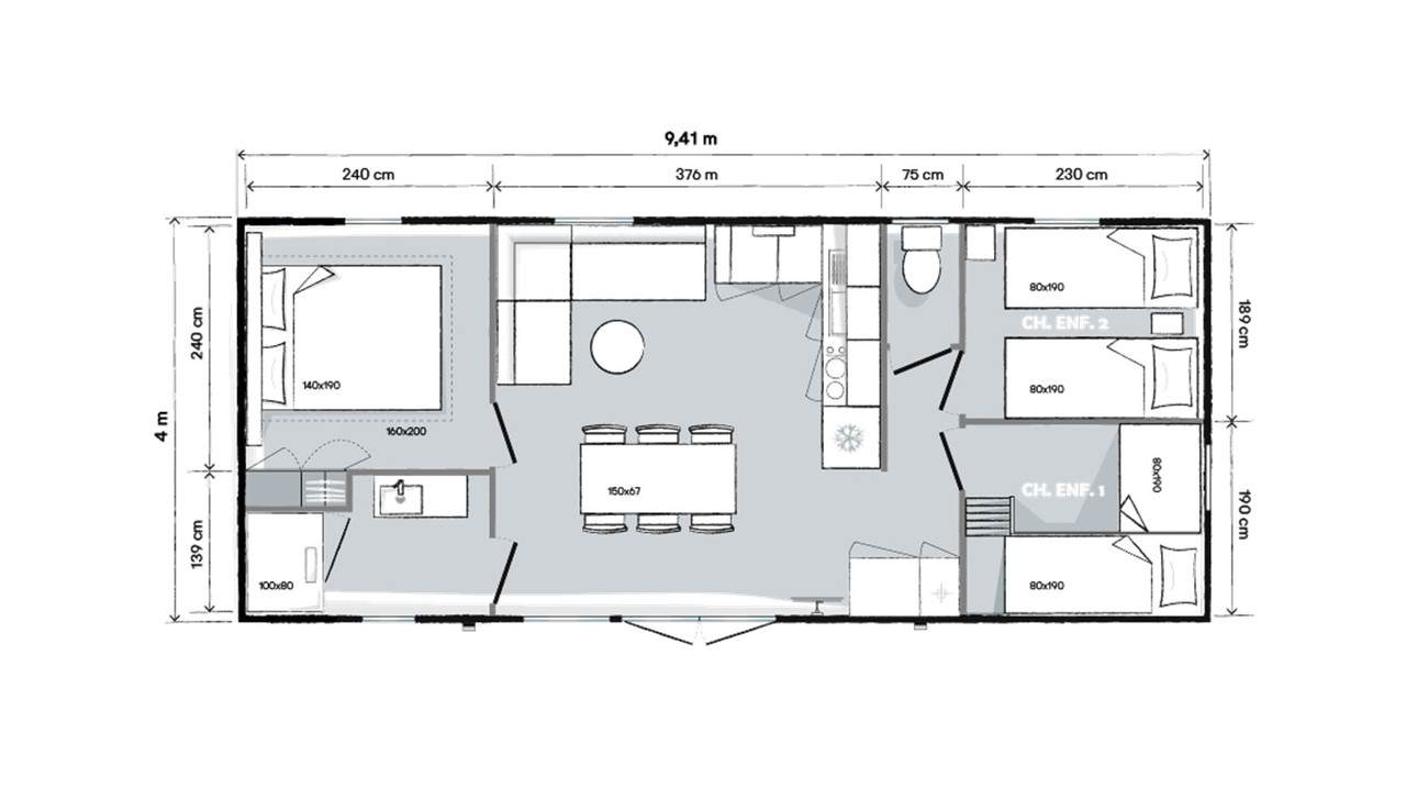 Plan mobil-home 3 chambres 944 3ch