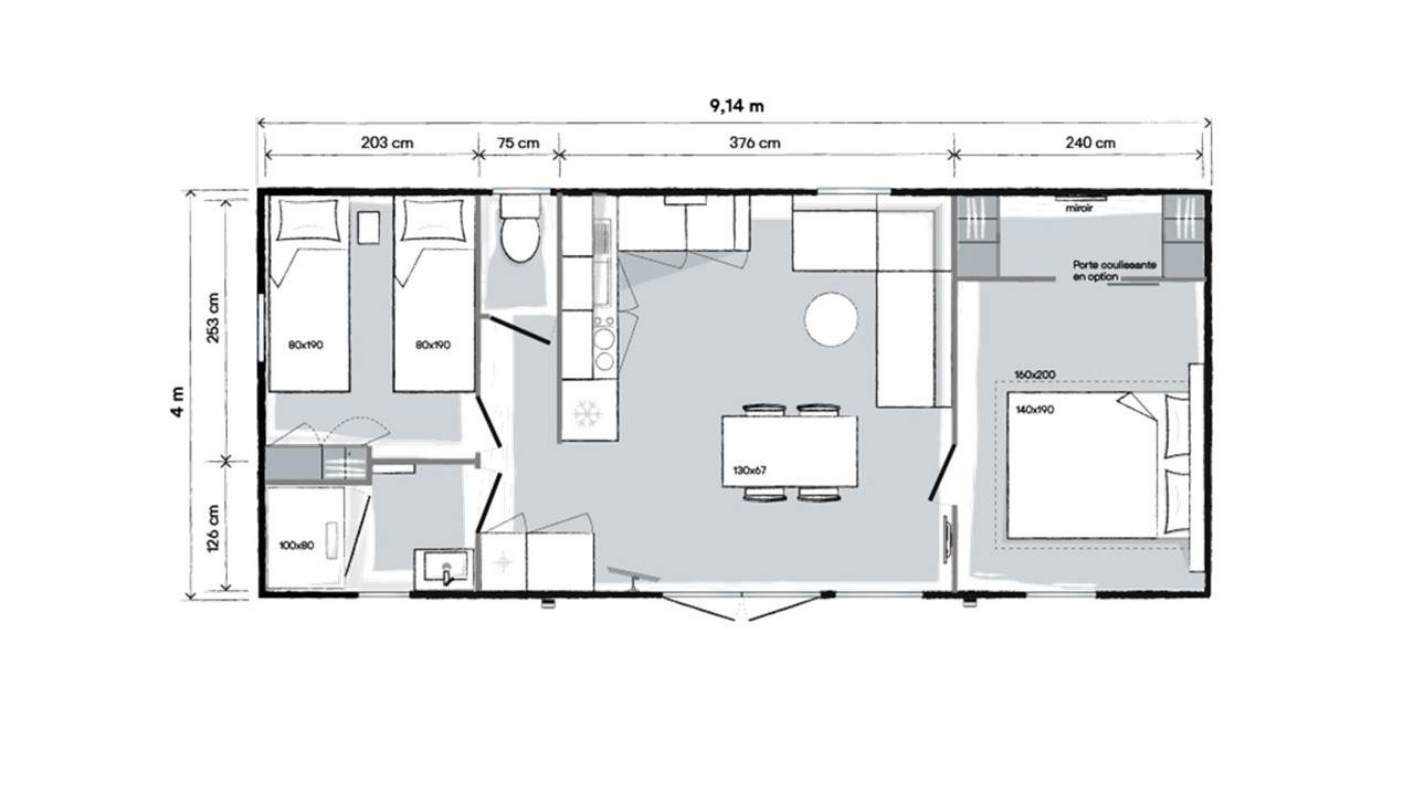 Plan mobil-home 2 chambres 914 2ch