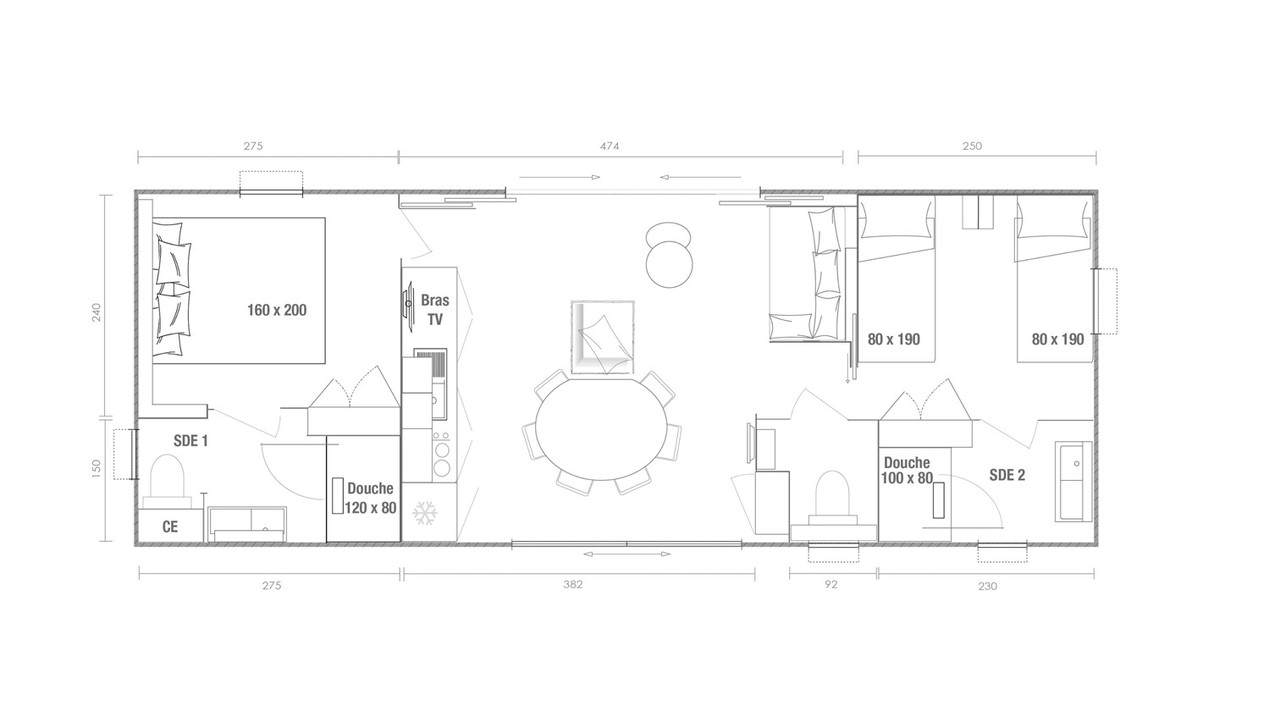 Schema mobile-home 2 camere Key West 2 ch