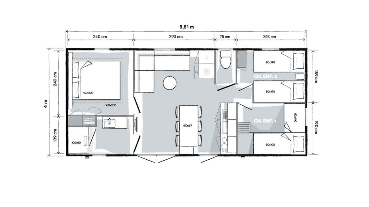 Plan mobile home 3 bedrooms 884 3-bed