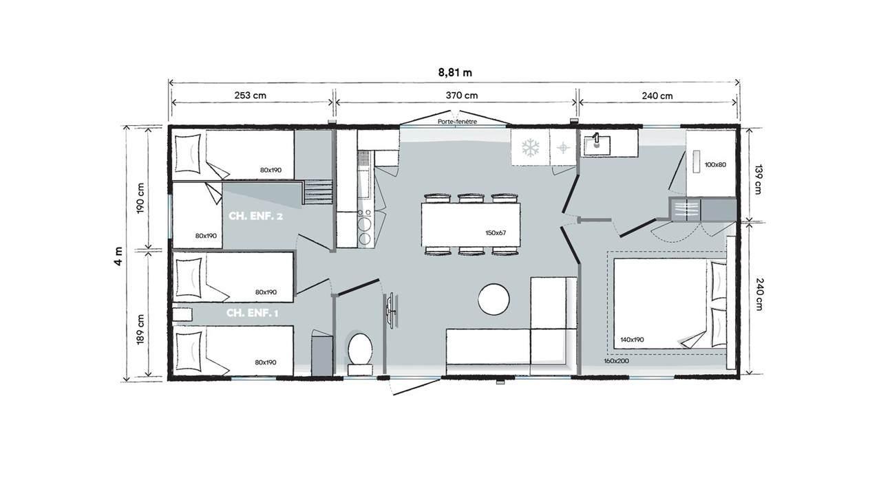 Plan mobil-home 3 chambres 884 3ch - Côté jardin