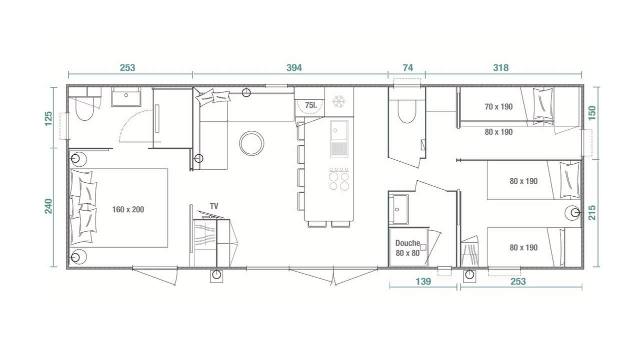 Plan mobile home 3 bedrooms Key West 3- bed