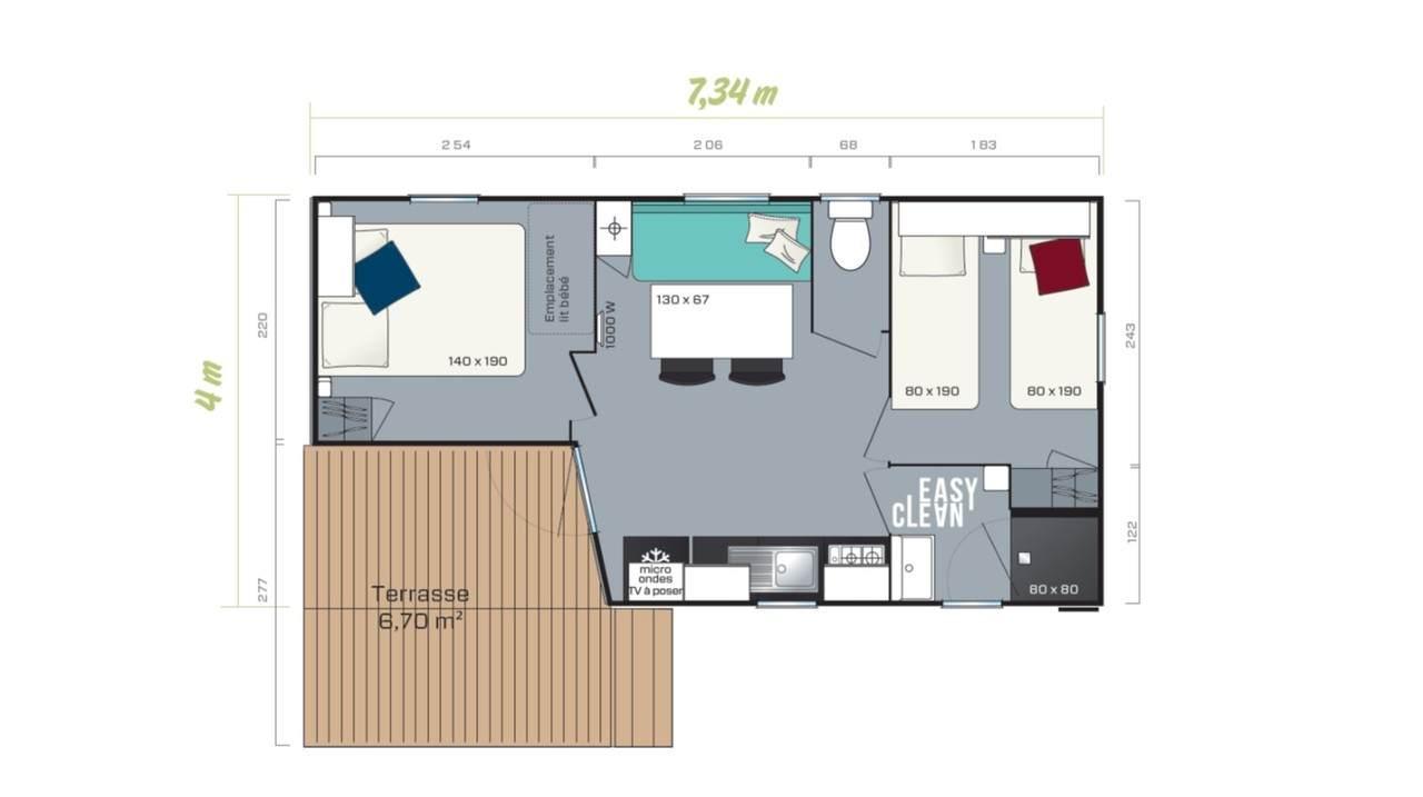Stacaravan LOGGIA COMPACT - 2 slaapkamers | IRM voor de zakelijke markt