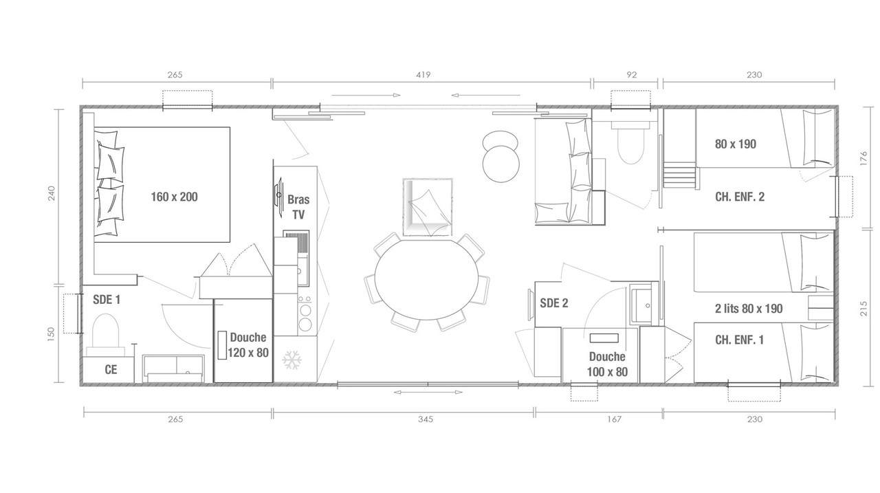 Plan mobil-home 3 chambres Key West 3ch
