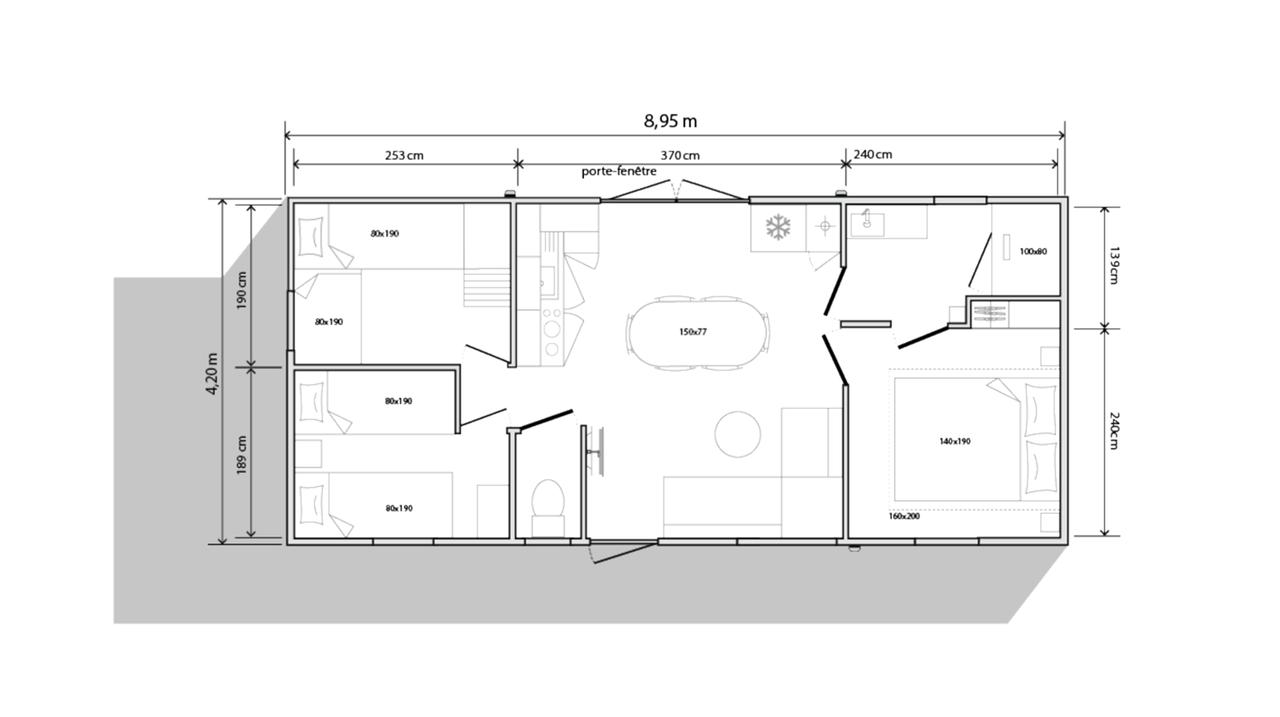 Schema mobile-home 3 camere 884 3c - Lato giardino