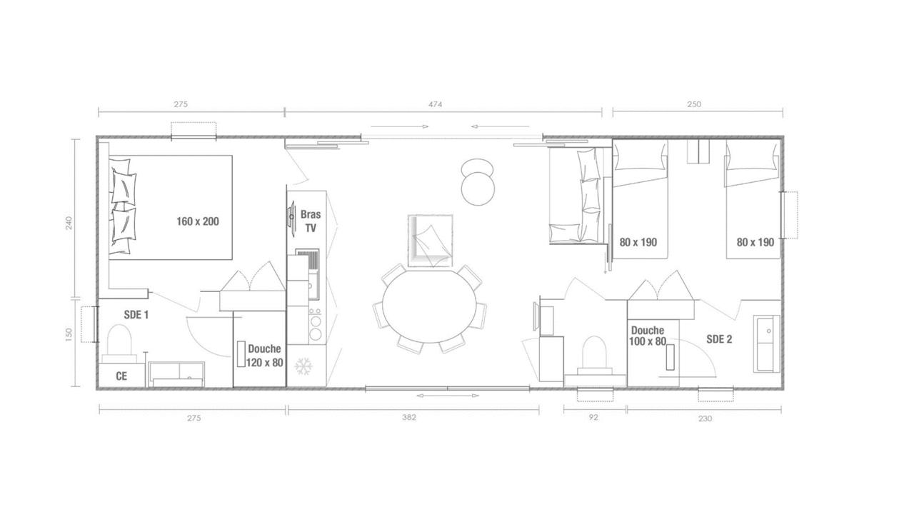 Plano de mobil-home 2 dormitorios Key West 2 hab