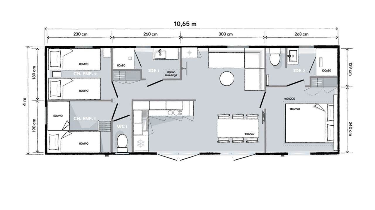 Plan mobil-home 3 chambres 1064 3ch 2s
