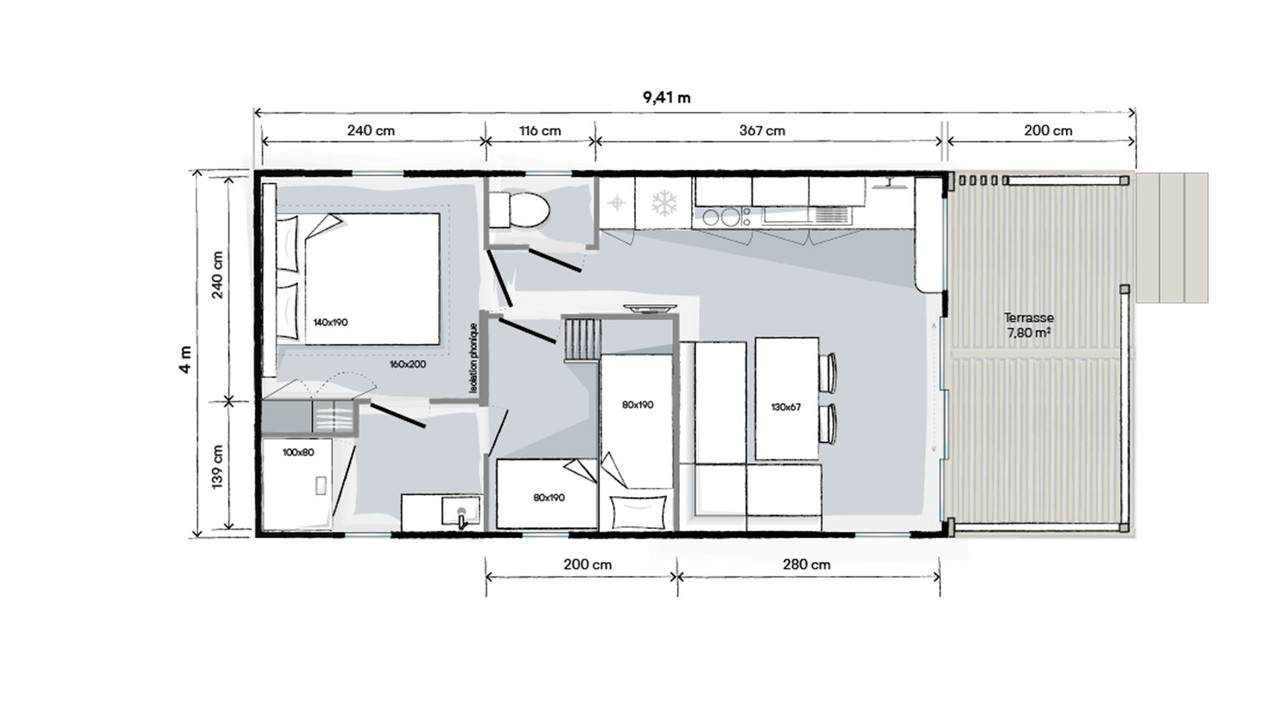 Plan mobil-home 2 chambres Living