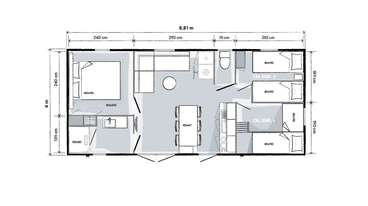Plan mobil-home 3 chambres 884 3ch