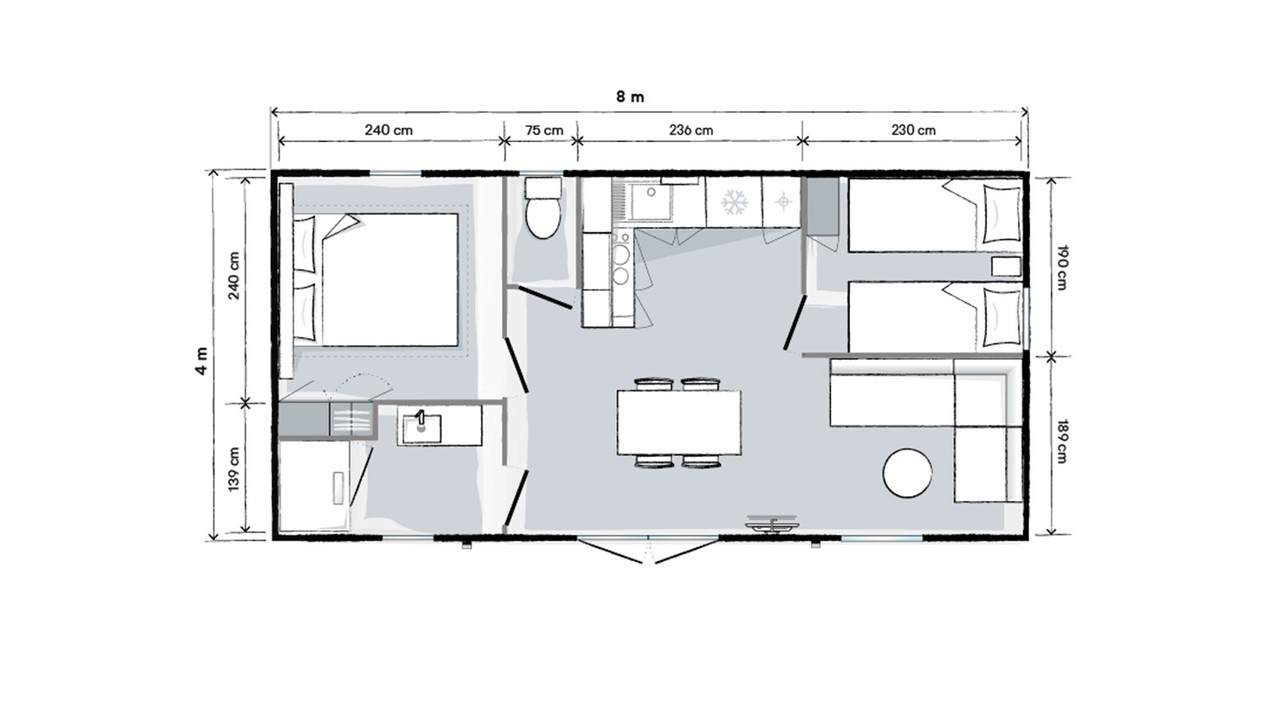 Plan mobile home 2 bedrooms 804 2-bed