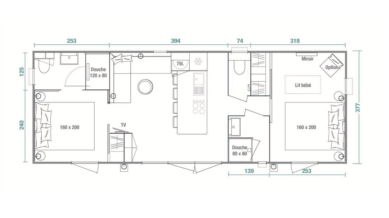 Plan mobil-home 2 chambres Key West 2ch