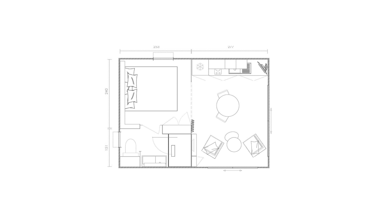 Plano de mobil-home 1 dormitorios Key West 1 hab