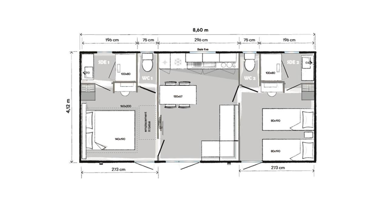 Plan mobile home 2 bedrooms 865 2-bed 2-bath
