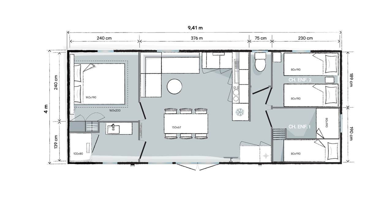 Plan mobile home 3 bedrooms 944 3-bed