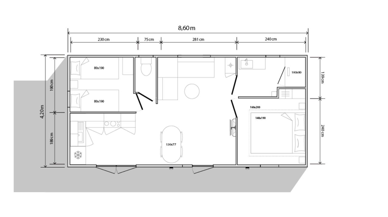 Schema mobile-home 2 camere 844 2c