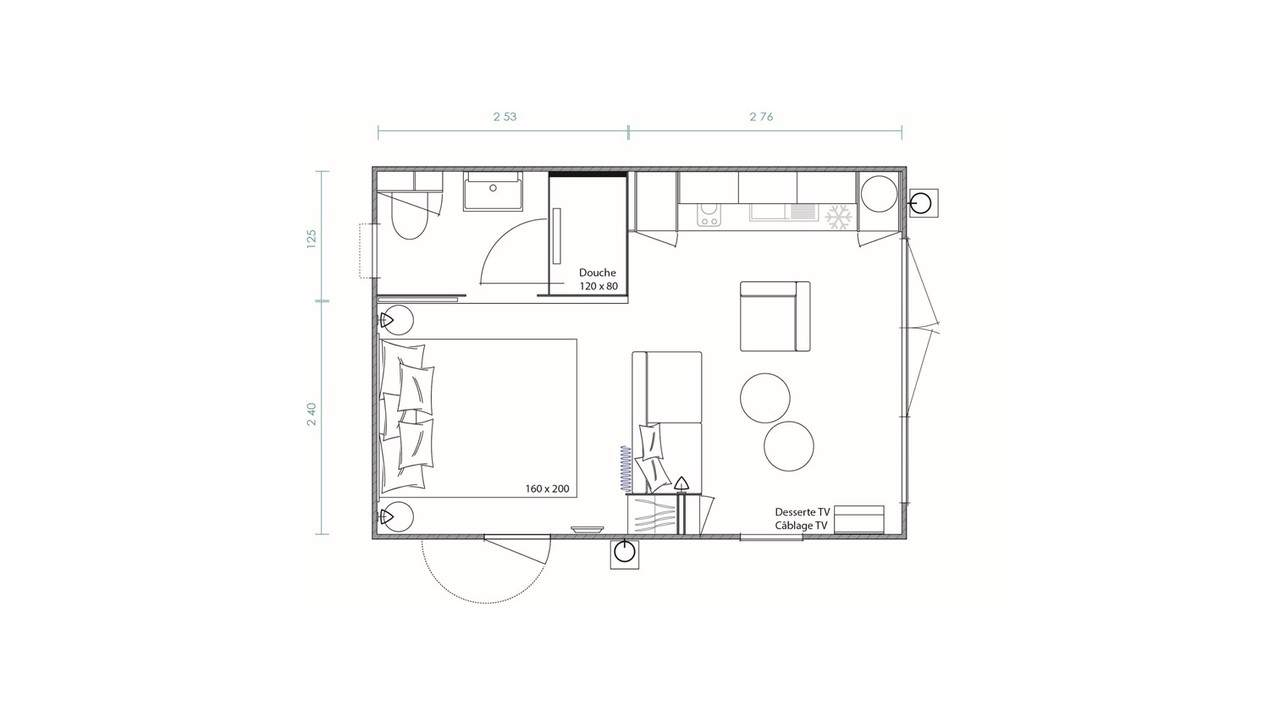 Plan mobil-home 1 chambres Key West 1ch