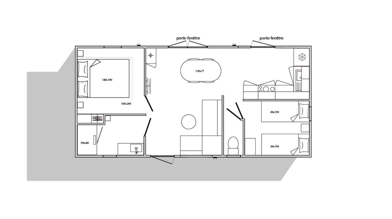 Plan mobil-home 2 chambres 844 2ch - Côté jardin