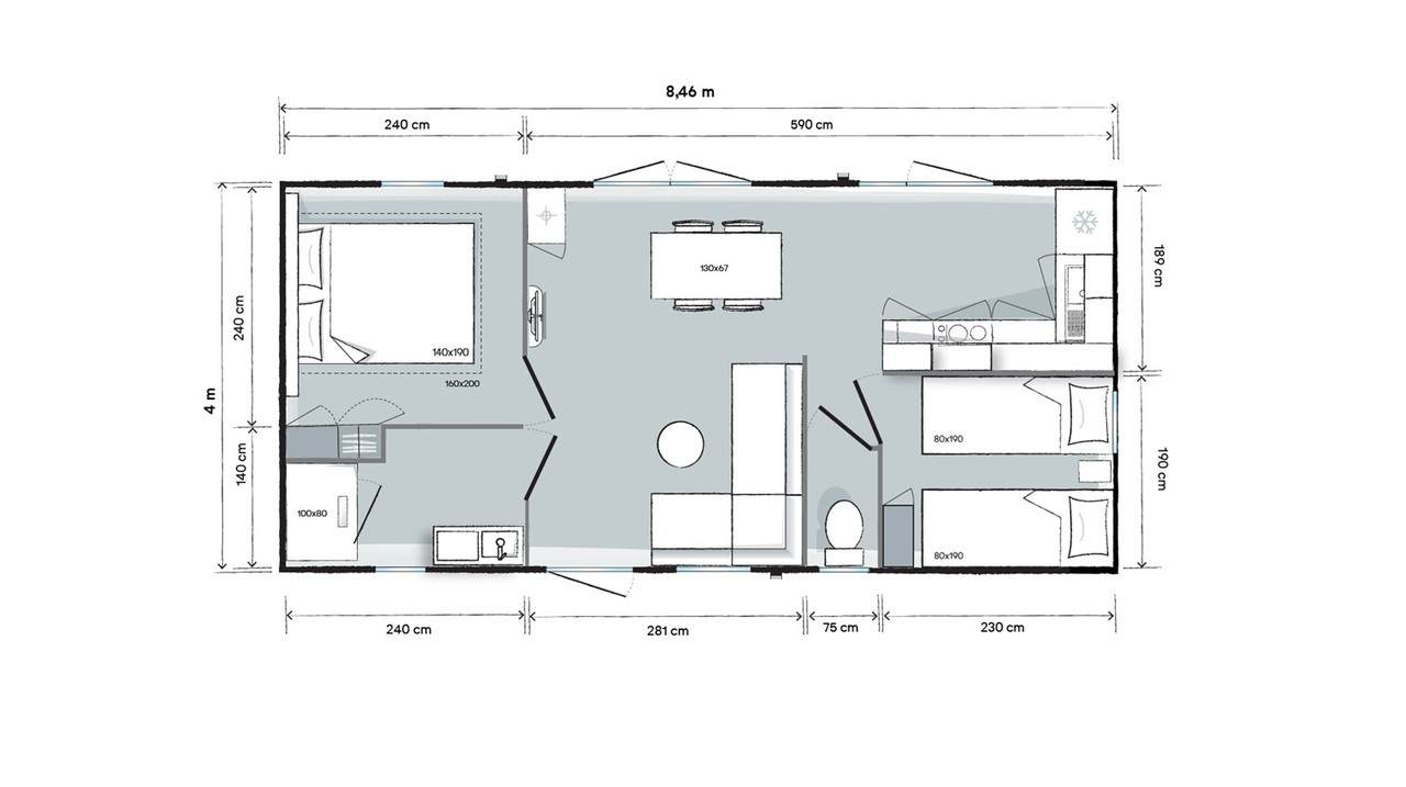 Plan mobile home 2 bedrooms 844 2-bed - Garden Side