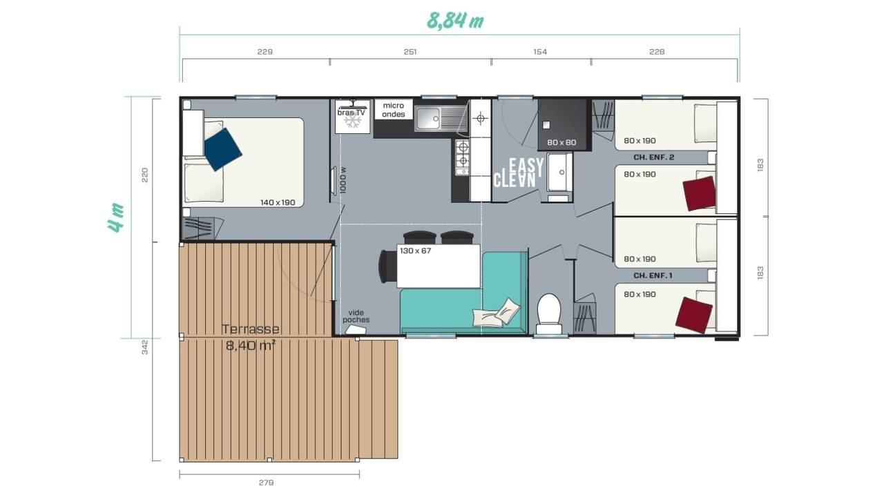 Mobil home LOGGIA 3 - 3 chambres pour professionnel | IRM