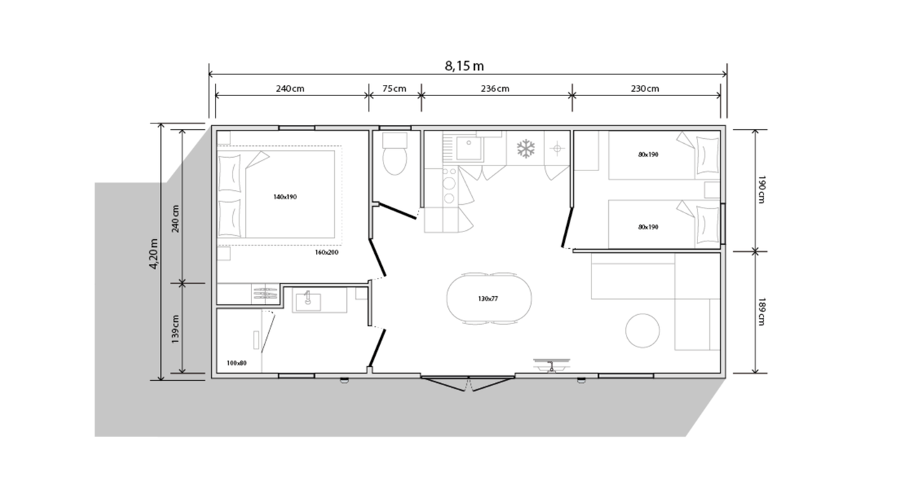 Plan mobil-home 2 chambres 804 2ch